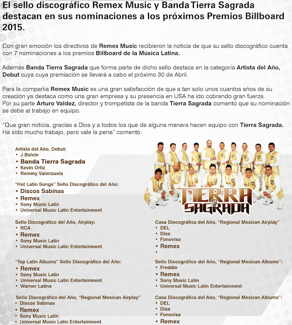 Banda Tierra Sagrada es nominada a los Billboard 2015