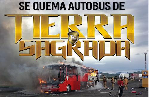 Se incendia autobus de Banda Tierra Sagrada