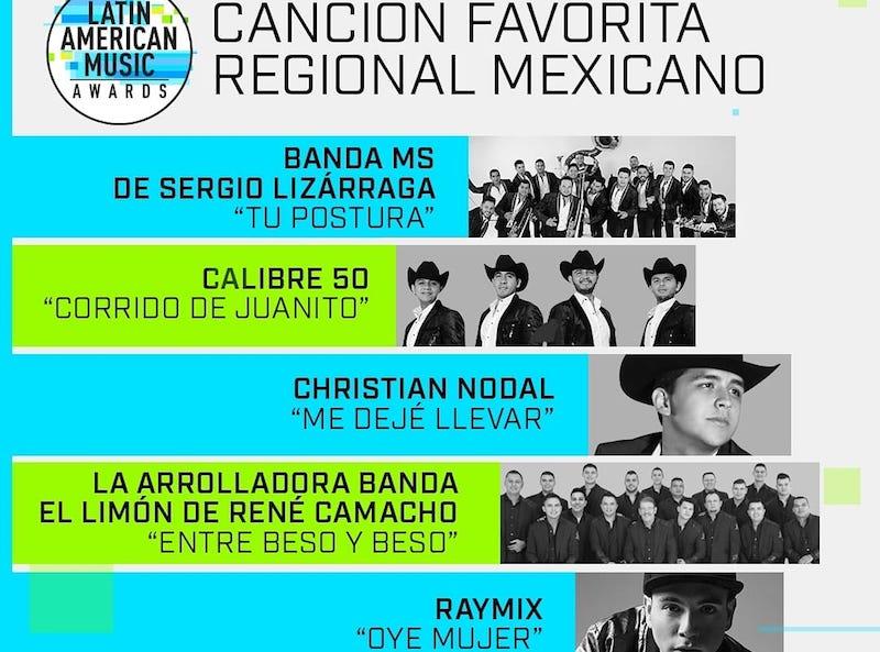 Banda MS multinominada en los Latin American Music Awards y Las Lunas del Auditorio.